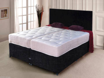 ZIP AND LINK DIVAN BED CHENILLE POCKET SPRUNG MATTRESSES NO HEADBOARD