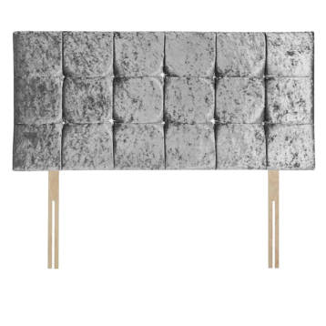 CRUSHED VELVET CUBES HEADBOARD WITH DIAMOND
