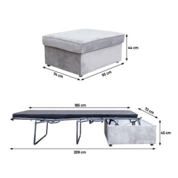 2IN1 GUEST BED IN BOX WITH MATTRESS FOOT STOOL