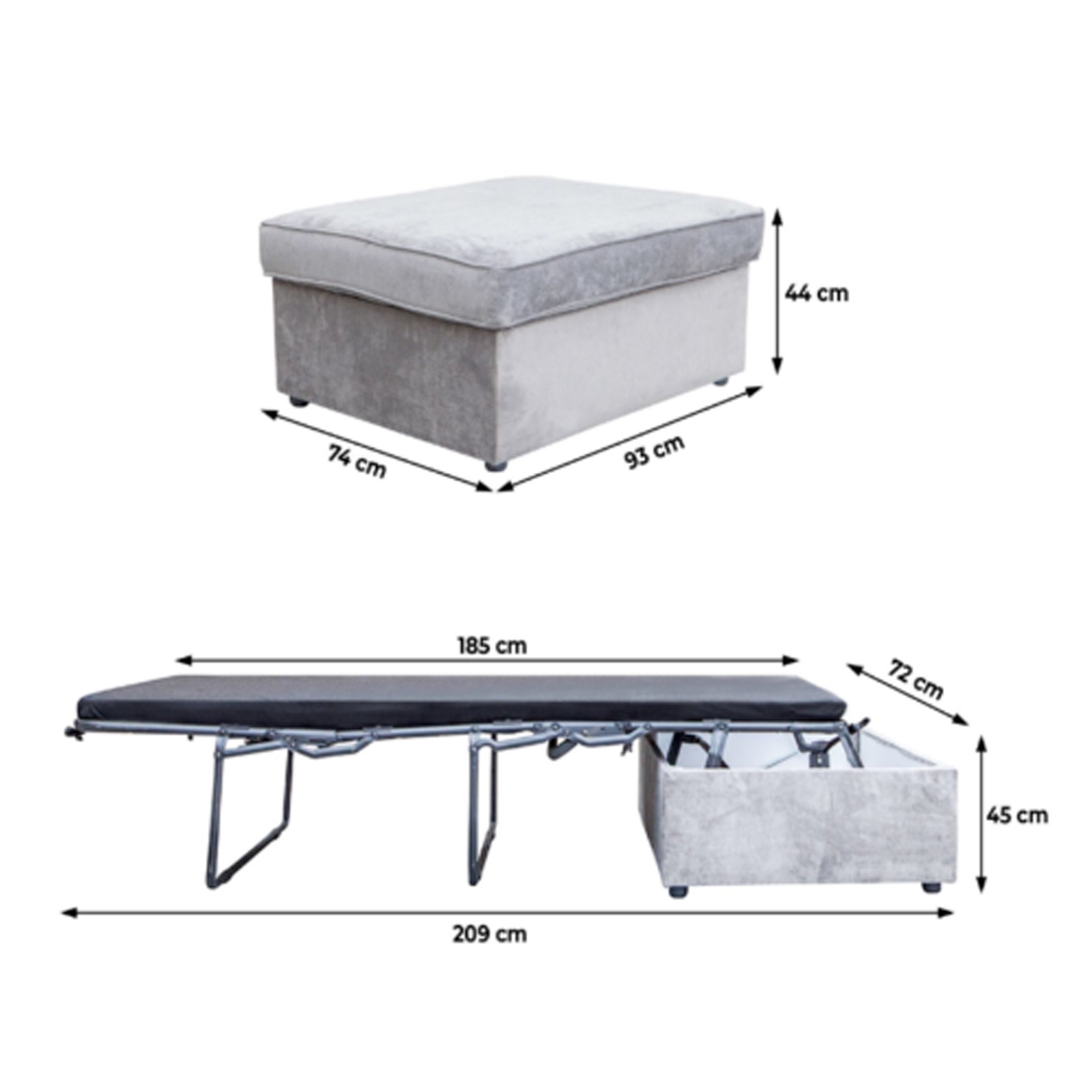 2in1 Guest Bed In Box With Mattress Foot Stool Sleep Kings