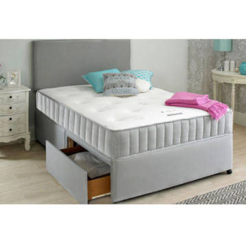 GREY DIVAN BED SET WITH MEMORY MATTRESS