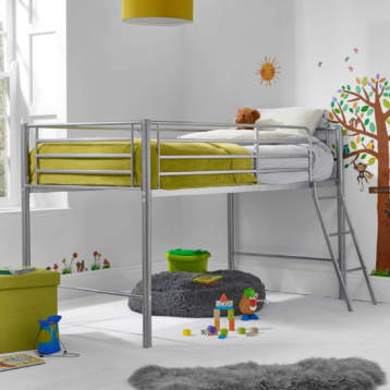 SILVER METAL MID SLEEPER KID'S BUNK BED