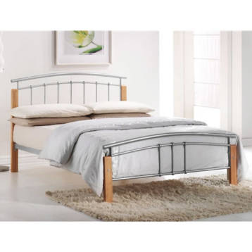 TETRAS METAL AND BEECH FINISH BED FRAME