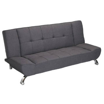 SOFA BED GREY FABRIC WITH CURVED CHROME FINISH
