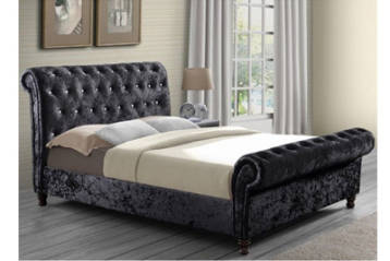 CHESTERFIELD CRUSHED VELVET BED IN BLACK