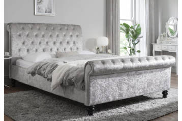 CHESTERFIELD CRUSHED VELVET BED IN SILVER