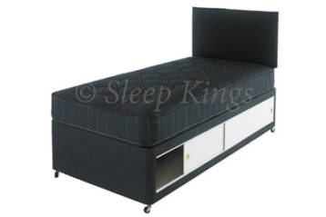 2FT6 OR 3FT KIDS SLIDE STORAGE DIVAN SET IN BLACK WITH MATCHING HEADBOARD