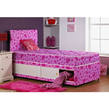 KIDS SHORTY PINK PRINCESS SLIDE STORAGE DIVAN SET