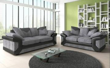 DINO FABRIC & FAUX LEATHER 3+2 SOFA BLACK/GREY