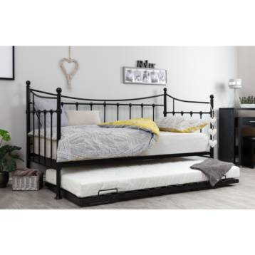 ARK METAL DAY BEDS IN BLACK TRUNDLE BED