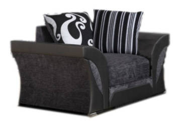 SHANNON CHENILLE & LEATHER ARMCHAIR IN BLACK/GREY