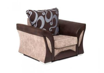 SHANNON CHENILLE & LEATHER ARMCHAIR IN BROWN/BEIGE
