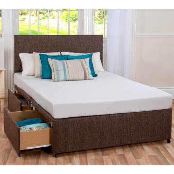GEL SLEEP PLUS MEMORY DIVAN SET IN CHENILLE + HEADBOARD