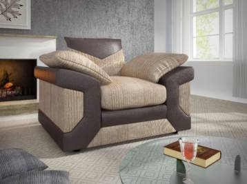 DINO 1 SEATER ARM CHAIR SOFA BROWN/BEIGE