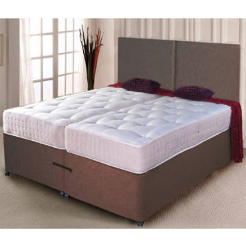 ZIP AND LINK DIVAN BED CHENILLE POCKET SPRUNG MATTRESSES + HEADBOARD