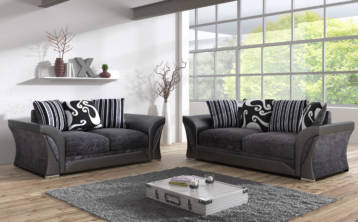 SHANNON CHENILLE & LEATHER 3+2 SEATER SOFA IN BLACK/GREY