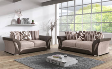 SHANNON CHENILLE & LEATHER 3+2 SEATER SOFA IN BROWN/BEIGE