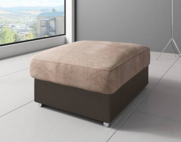 SHANNON CHENILLE & LEATHER FOOTSTOOL IN BROWN/BEIGE