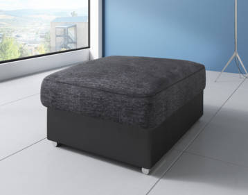 SHANNON CHENILLE & LEATHER FOOTSTOOL IN BLACK/GREY