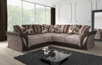 SHANNON CHENILLE & LEATHER CORNER SOFA IN BROWN/BEIGE