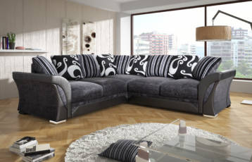 SHANNON CHENILLE & LEATHER CORNER SOFA IN BLACK/GREY