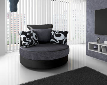 SHANNON CHENILLE & LEATHER SWIVEL CHAIR IN BLACK/GREY