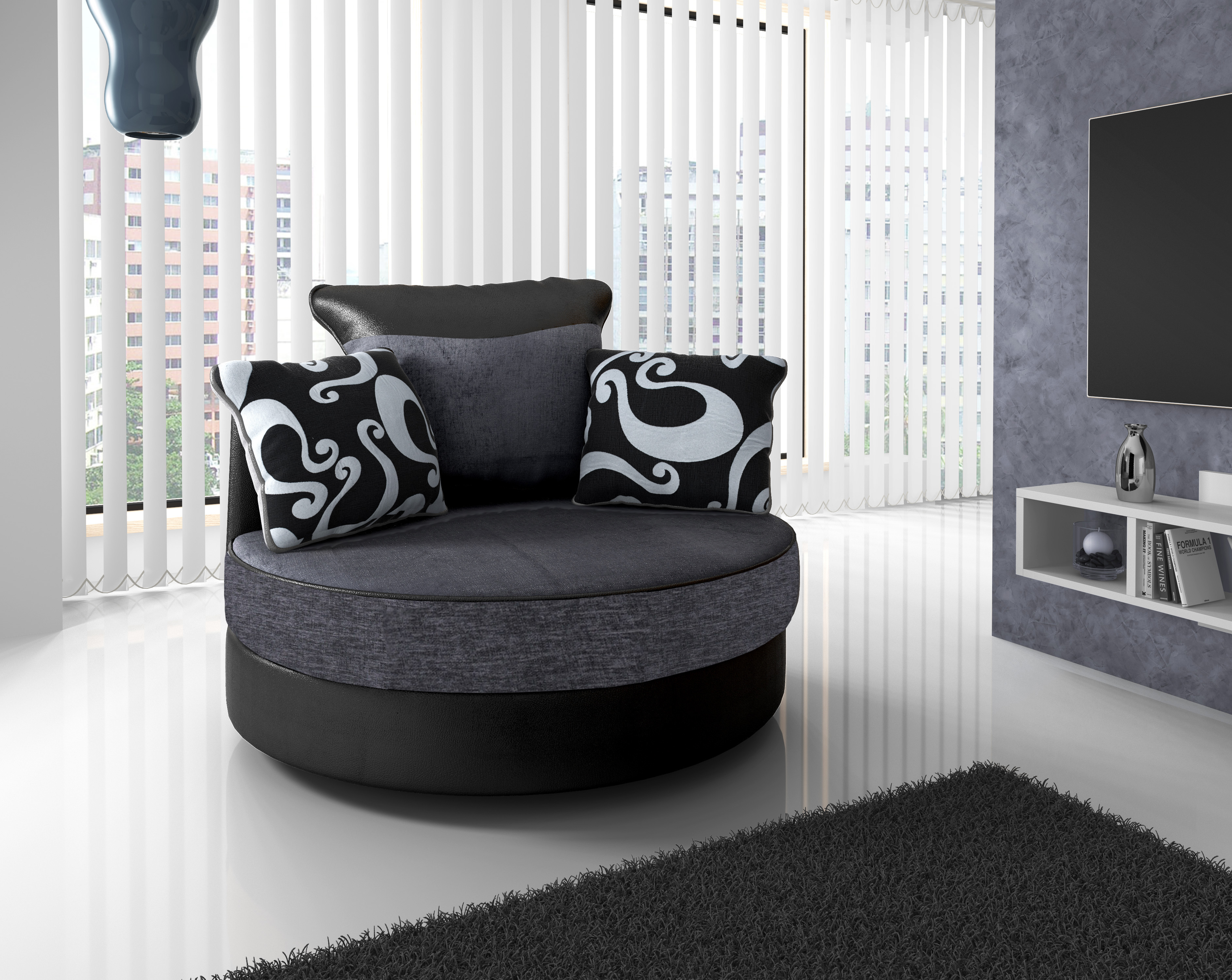 Shannon Swivel Chair Black Grey
