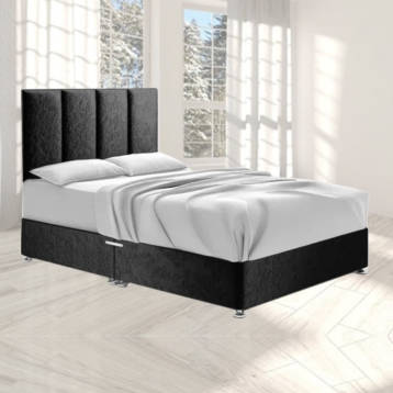 HARTLAND DIVAN BED IN BLACK CRUSHED VELVET