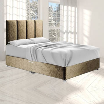 HARTLAND DIVAN BED IN CHAMPAGNE CRUSHED VELVET