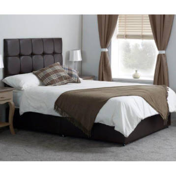 LEATHER POCKET ADJUSTABLE BED WITH CUBED TALL HEADBOARD