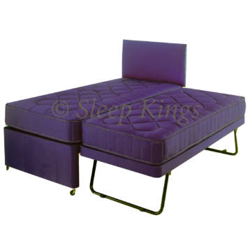 GUEST TRUNDLE BED 3 IN 1 WITH MATTRESSES HEADBOARD LILAC