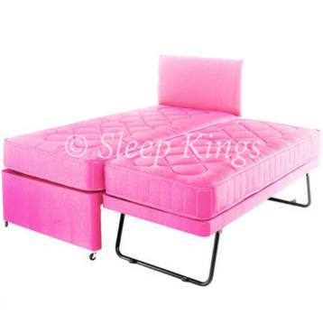 GUEST TRUNDLE BED 3 IN 1 WITH MATTRESSES HEADBOARD PINK