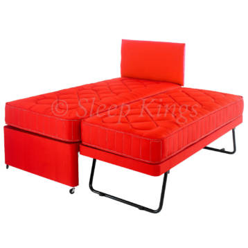 GUEST TRUNDLE BED 3 IN 1 WITH MATTRESSES HEADBOARD RED