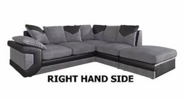 DINO FABRIC & FAUX LEATHER RIGHT HAND CORNER SOFA BLACK/GREY