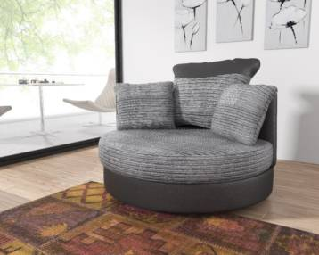 TANGO FIXED CUDDLE CHAIR IN GREY/BLACK