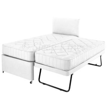 GUEST TRUNDLE BED 3 IN 1 WITH MATTRESSES HEADBOARD WHITE