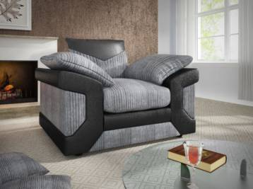 DINO 1 SEATER ARM CHAIR SOFA BLACK/GREY