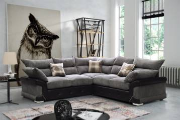LOGAN CORNER SOFA GREY/BLACK