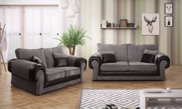 TANGO FIXED BACK 3+2 SOFA IN GREY/BLACK