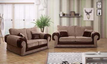TANGO FIXED BACK 3+2 SOFA IN BEIGE/BROWN