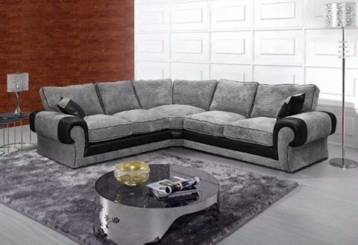 TANGO FIXED BACK CORNER SOFA IN GREY/BLACK