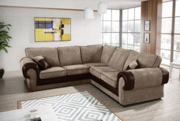 TANGO FIXED BACK CORNER SOFA IN BEIGE/BROWN