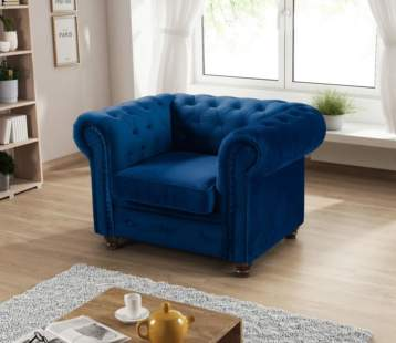 HABLO UPHOLSTERED CHESTERFIELD ARMCHAIR BLUE