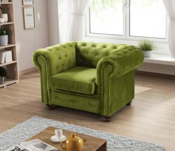 HABLO UPHOLSTERED CHESTERFIELD ARMCHAIR LIME
