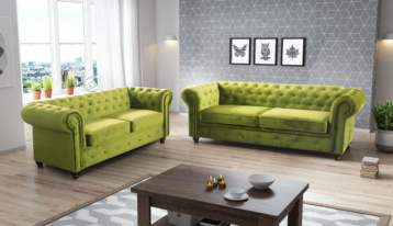 HABLO UPHOLSTERED CHESTERFIELD SOFA SET 3+2 LIME