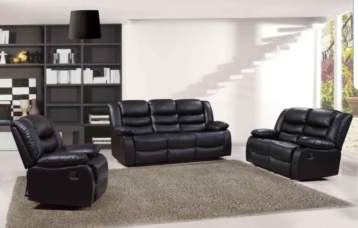 RECLINER LEATHER SOFAS 1 SEATER BLACK