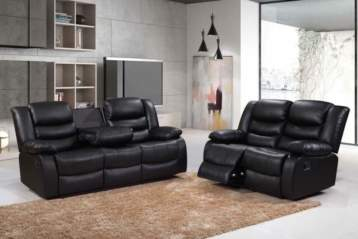 RECLINER LEATHER SOFAS 3+2 BLACK
