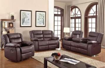 RECLINER LEATHER SOFAS 3+2 SEATERS BROWN