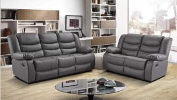 RECLINER LEATHER SOFAS 3+2 SEATERS GREY