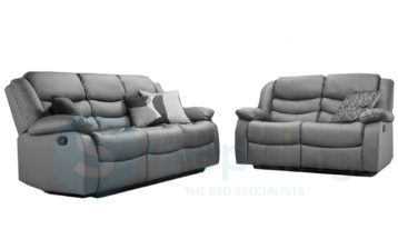 RECLINER LEATHER SOFAS 3+2 GREY